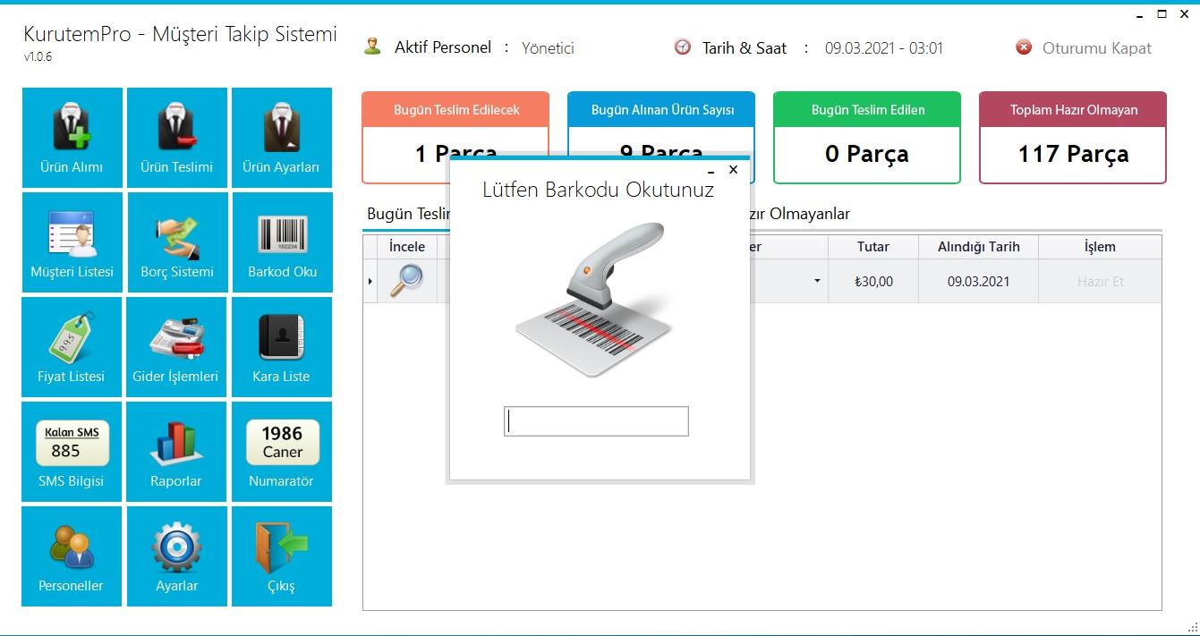 Kuru Temizleme Programı - Ekran Görüntüsü - Barkod Oku