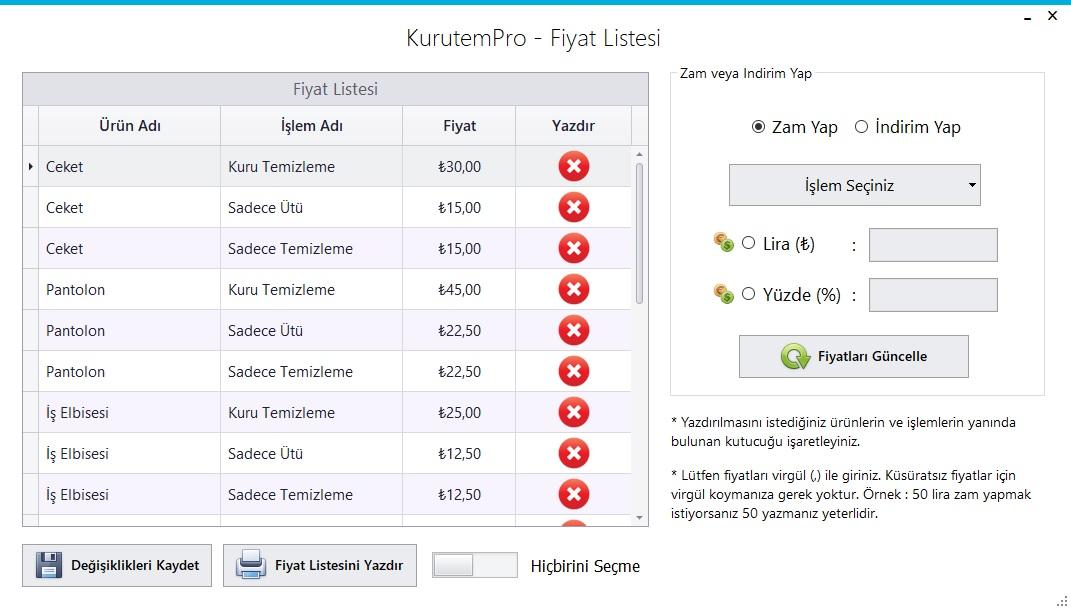 Kuru Temizleme Programı - Ekran Görüntüsü - Fiyat Listesi