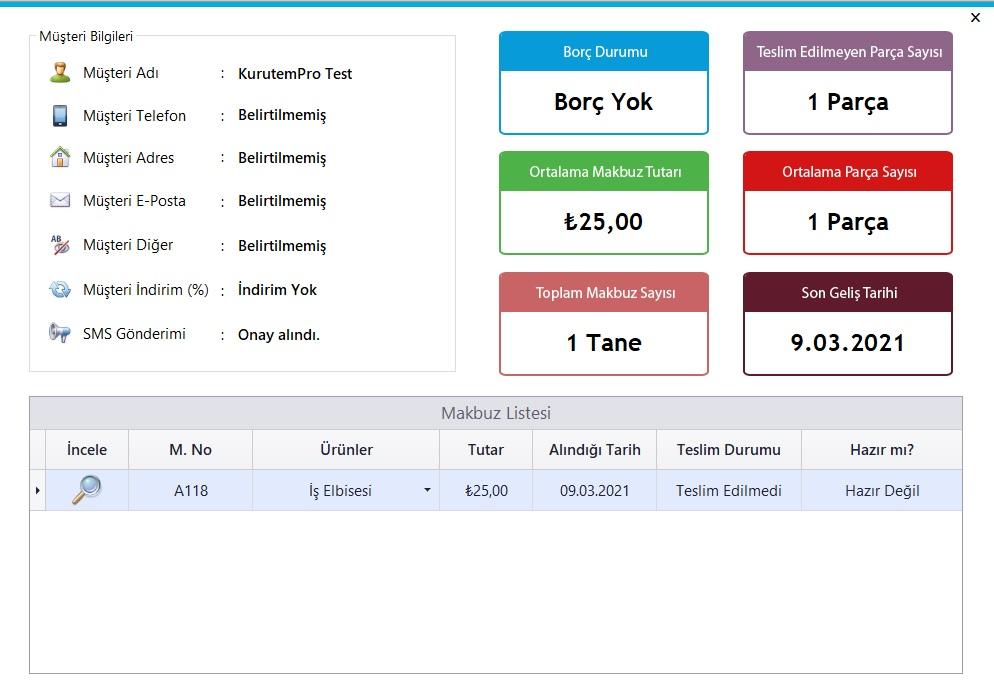 Kuru Temizleme Programı - Ekran Görüntüsü - Müşteri Profil