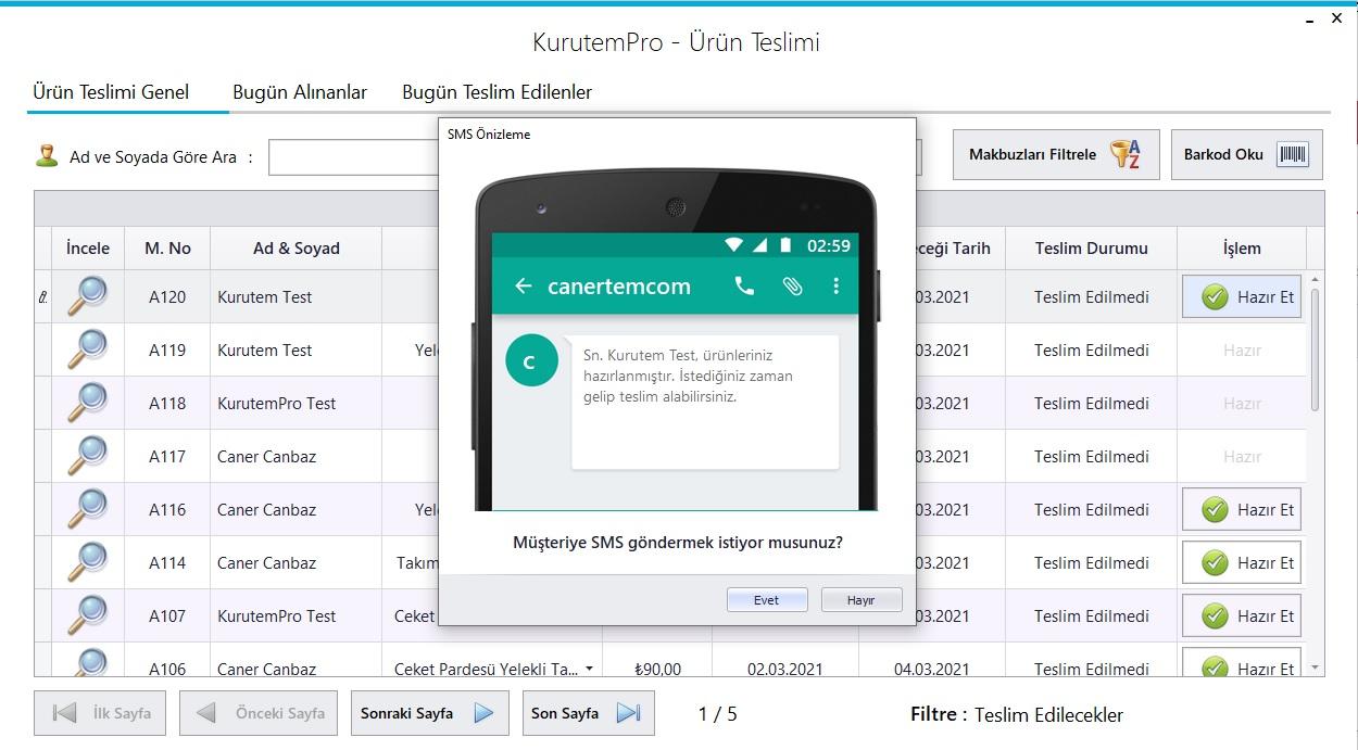 Kuru Temizleme Programı - Ekran Görüntüsü - SMS